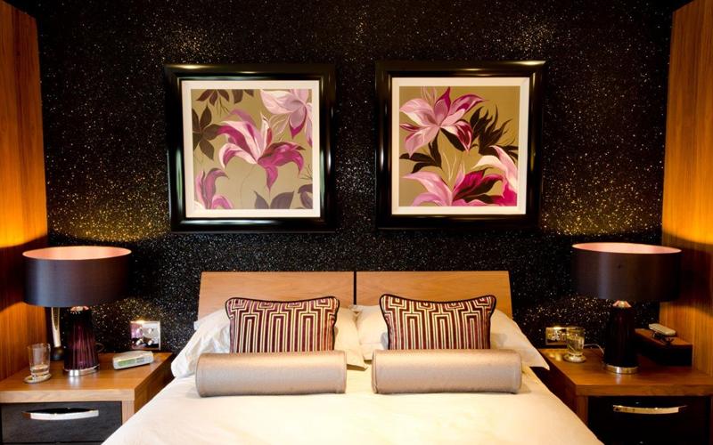 Pareti Glitter Oro : Idee per imbiancare casa: pitture per interni con brillantini